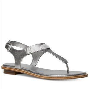 Michael Kors Plate Flat Thong Sandals—silver 6.5